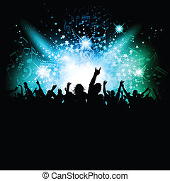 Disco crowd - Silhouette of an excited crowd on a music...