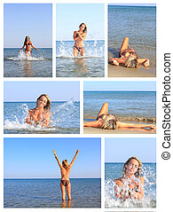 pretty woman on the beach - Collage of photo pretty woman on...