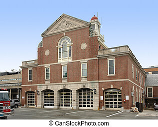 Cambridge Fire department - architectural detail showing the...