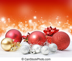 Christmas decorations on a starry lights background -...