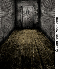 Grunge Interior with a prison door - Grunge style image of...