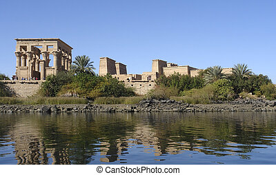 Temple of Philae in Egypt - sunny illuminated Temple of...