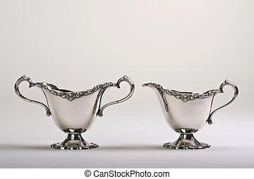 Sugar and Creamer Sterling Silver - Antique English 19th...