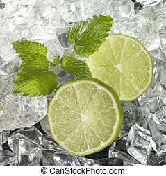 Ice with Lime Wedges - studio photography of some sliced...