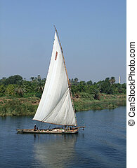 Nile scenery with felucca - a felucca on the Nile in Egypt