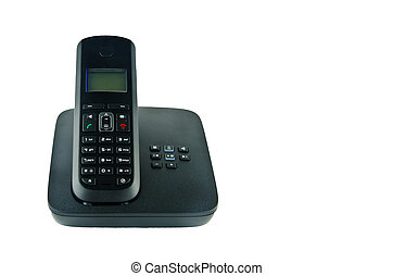Wireless black telephone with cradle isolated on white...