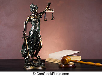 Hammer and god of law - Law and justice concept in studio.