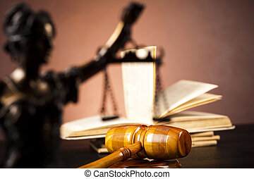 Justice Scale and Gavel - Law and justice concept in studio...