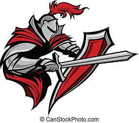 cavaleiro, guerreira, mascote, apunhalar