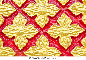 Stucco Pattern red thai from thai temple.