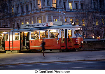 famous streetcar in vienna by night