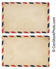 Vintage Airmail Envelope - The front and back of an aging...