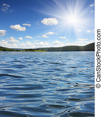summer lake with waves