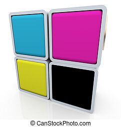 cmyk colors - 3d render of colorful box of cymk (cyan...