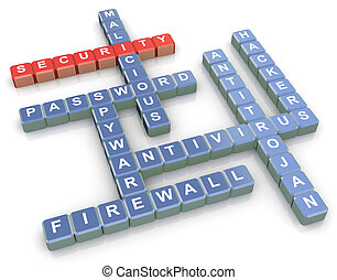 Crossword of security - 3d render of crossword of computer...