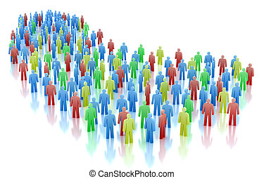 Colorful people crowd concept isolated on white