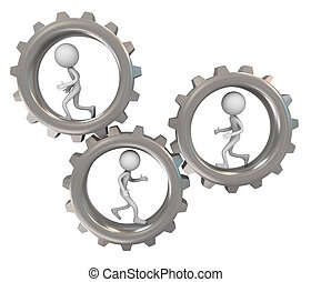 3d men and gears - 3d render of running man inside chrome...