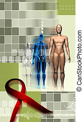 Human body and HIV ribbon - Digital illustration of a human...
