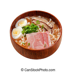 delicious miso ramen. japanese soup.Isolated on white...