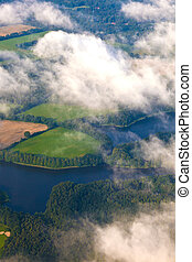 aerial of fields near the river in hamburg