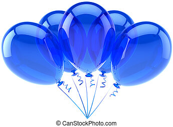 Blue cyan party birthday balloons