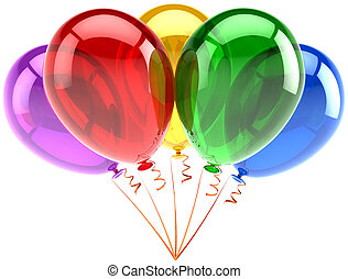 Five multicolored party balloons
