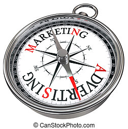 marketing vs advertising concept compass