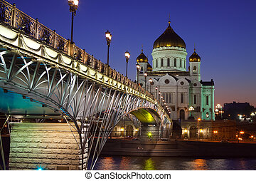 Christ the Savior Cathedral at Moscow in night, Russia
