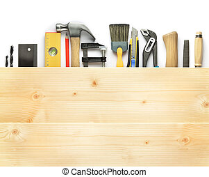 Carpentry background Tools underneath the wood plank