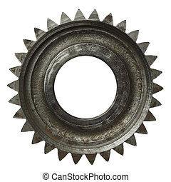 Cogwheel - Machine gear, metal cogwheel. Isolated on white.