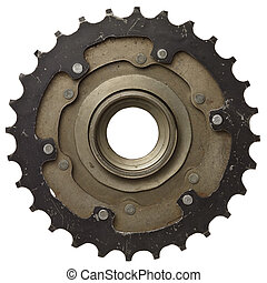 Cogwheel - Bicycle gear, metal cogwheel. Isolated on white.