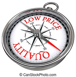 quality versus low price concept compass isolated on white...