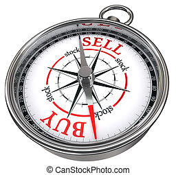 buy vs sell business concept compass isolated on white...