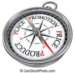 four p management concept compass