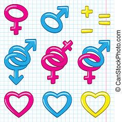 Cartoon gender symbols
