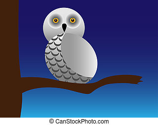 Snowy owl on a branchVector illustration