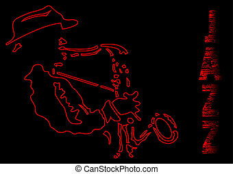 Saxophone player , silhouette in black and red