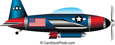United states WW2 fighter on white