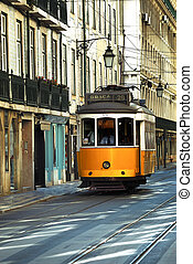 Lisbon Tram - Vintage Trams such as these two are a common...