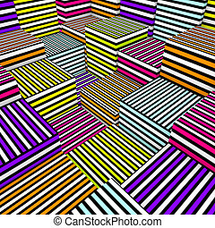 abstract 3d composition cubes in colored spray line texture