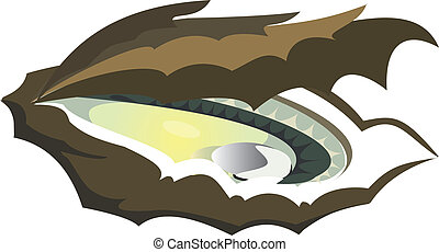 vector-oyster - green, oyster, white, background