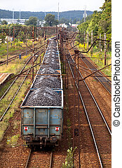 Freight train - Coal train passing through the station