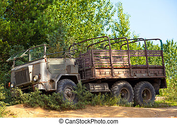 Vintage military truck - Old vintage military truck stuck in...