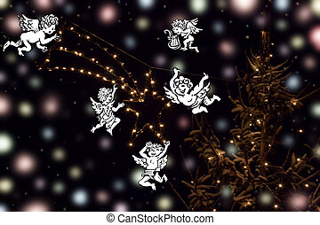 christmas star background illustration with angels