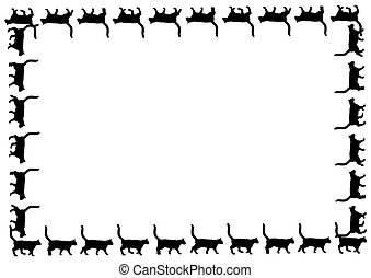 Frame with black cats - frame with black cat walks on white...