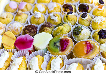 Tasty pastry background from the party