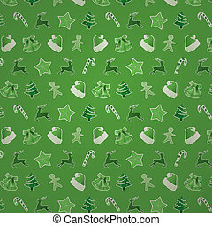 Green Christmas Seamless Pattern - Christmas seamless...