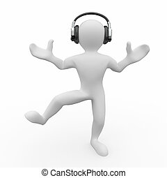 Dancing men in headphones. 3d - Dancing men in headphones on...