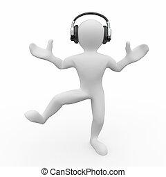 Dancing men in headphones 3d - Dancing men in headphones on...