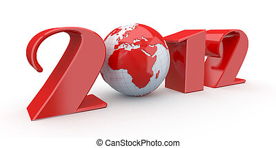 New Year. Text 2012 and earth. 3d